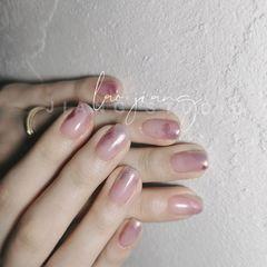 裸色方圆形夏天短指甲新娘简约上班族晕染渐变美甲图片