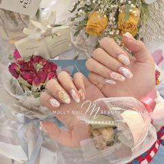 裸色尖形晕染上班族新娘金箔简约贝壳片渐变跳色花朵玻璃纸饰品美甲图片