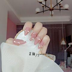 裸色尖形磨砂新娘简约珍珠粉色豆沙色钻美甲图片