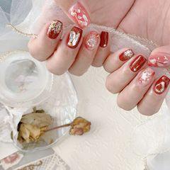 红色裸色银色圆形夏天金箔简约贝壳片上班族晕染渐变新娘玻璃纸饰品美甲图片