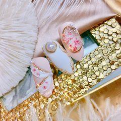 橙色裸色圆形花朵金箔简约新娘磨砂夏天魔镜粉金色珍珠钻🌷气质仙女款🦋🩰飞舞的花朵绽放Love💖金属磨砂Design ❤️diy饰品 🌼芭蕾仙女 美甲图片