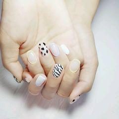黄色蓝色白色黑色裸色方圆形夏天短指甲简约豹纹美甲图片