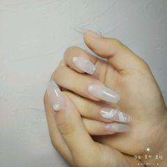 裸色梯形夏天新娘简约丝带珍珠美甲图片