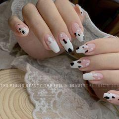 异形简约手绘日式白色黑色美甲图片