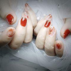 橙色裸色方圆形夏天上班族短指甲晕染金箔贝壳片渐变冰透色美甲图片