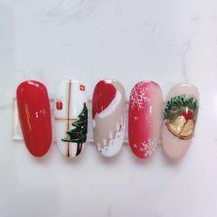 红色圆形跳色简约裸色白色雪花渐变格子秋冬美甲图片
