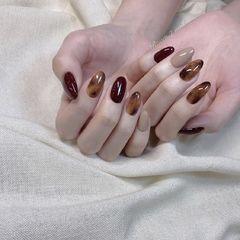 酒红色尖形琥珀韩式黑色棕色美甲图片