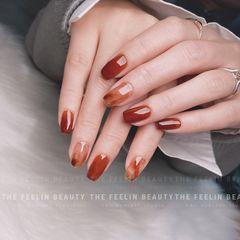 酒红色红色橙色方圆形晕染手绘日式焦糖琥珀美甲图片