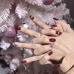 酒红色银色方圆形新娘简约新年饰品钻秋冬显白美甲图片