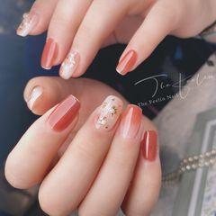 橙色裸色红色方圆形新娘晕染贝壳片渐变简约金箔日式珍珠手绘美甲图片