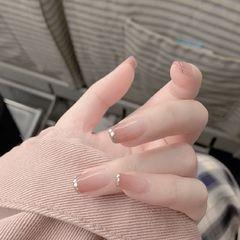 裸色方形夏天短指甲新娘上班族简约渐变法式美甲图片