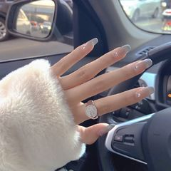 裸色方形夏天短指甲新娘上班族简约渐变钻美甲图片