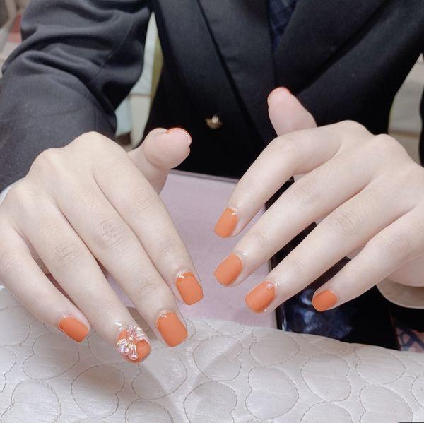 方形短指甲美甲图片