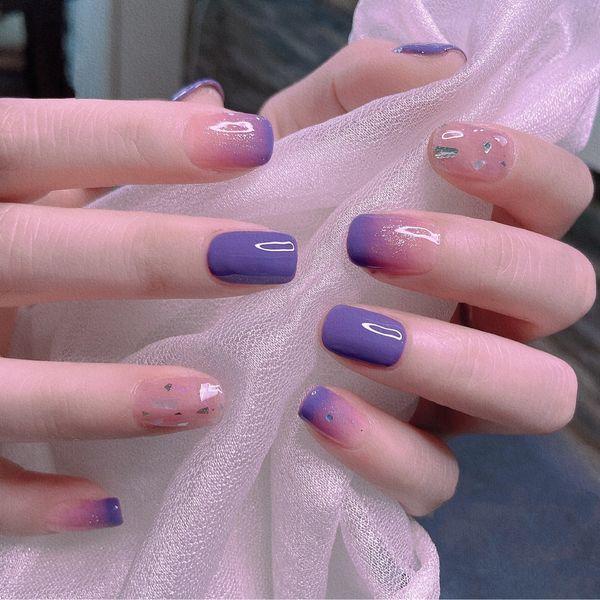方形金箔简约夏天紫色渐变显白美甲图片