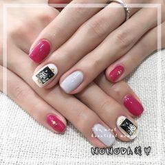 白色灰色粉色方圆形钻美甲图片